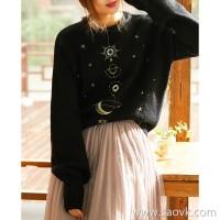 の[ZY158731VG] Xiaohan Pavilion Xingyue Series Exquisite Embroidery Lazy Style Pure Wool Knit Sweater