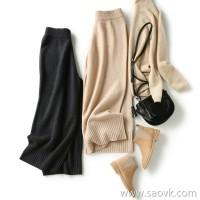 [ZB119817AL] 笑涵阁 Street fan to create long legs, versatile wear wool knit wide leg pants