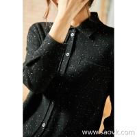 α[ZY158850VG] high-precision pure cashmere! S-XL is easy to wear, slim micro-shaped cashmere shirt
