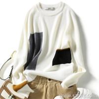 の[ZY158575AG] 笑涵阁 Color block hit color raglan sleeve simple fit wool sweater