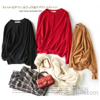 の[ZY158679AG] Indispensable small wardrobe in the wardrobe! 16G wool bat sleeve asymmetric sweater