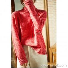 [ZY158817VG] Bead chain design, high gram pure cashmere JI series ~ lazy turtleneck sweater