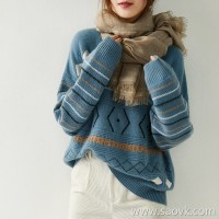 の[ZY158611AG] Beautiful smoky blue Stylish high-heavy double-sided jacquard cashmere pullover sweater
