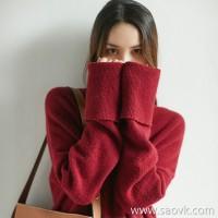 α[ZY158914VG] Xiaohan Pavilion can't see it! High-necked, sleek, wool, cowhide, lazy wind sweater