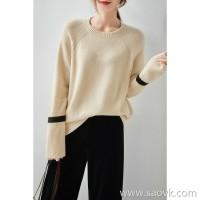 の[ZY158689VG] Laughing Hange creamy warm double denim preferred all cashmere was thin sweater