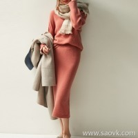 の[ZQ122007VL] Laughing Hange warm and versatile elastic waist back side slit long wool knit skirt