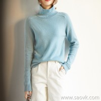 α[ZY158900VG] 笑涵阁 精纯系 Warm high collar pure cashmere sweater loose warm sweater