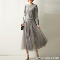 の[ZQ158374AG] 笑涵阁 Wool knit stitching mesh pleated mid-length waist dress