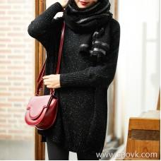 [ZY158842VG] Xiaohan Pavilion wears a high rate of appearance! Idea yarn wool long sweater sweater