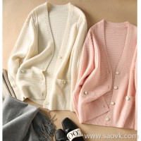 の[A563999] Open and gentle!篙颜值绒暖暖羊绒小香风Beads Knit Cardigan