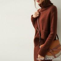 の[ZY158708VG] 笑涵阁 Fashion darling love! High neck double pocket yak velvet sweater
