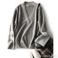 の[ZY158656AG] 挚爱大V-neck, small face, loose shoulders, loose and thin full cashmere pullover