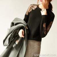 の[ZY158619AG] Xiaohan Pavilion Charming effect! Lace openwork, lightweight and beautiful wool sweater