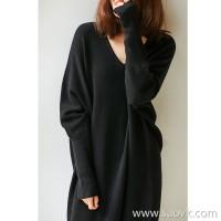 の[W565167] 笑涵阁 Oversize fashionable fan full-form V-neck pure wool dress