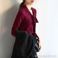 [ZY258013AG] Cost-effective French light elegant lace German cotton pure wool sweater