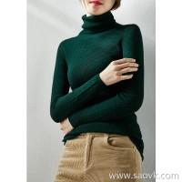 の[W565033] 笑涵阁 Simple pit texture 镂空花型 Full wool turtleneck sweater