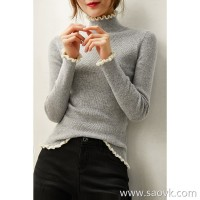 [A563916] 笑涵阁 Exquisite playful contrast color wooden ear wool cashmere slim slimming sweater