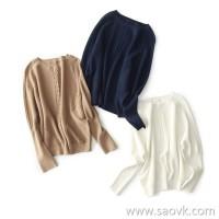 の[W564732]笑涵阁 elegant simple three-dimensional twisted 16 fine needles Yangtze long thread sleeve sweater