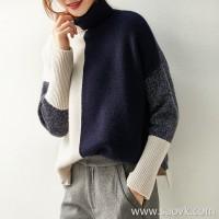 の[ZY158785VG] 笑涵阁 Multi-color fight skin soft lazy high collar cashmere loose sweater