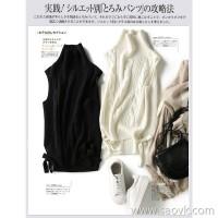 の[ZY158807VG] Laughing Hange Mother's warmth! Stranded side laced full wool knit vest