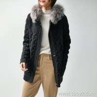 の[ZY158283VG] advanced luxury self-retaining wool cashmere fox fur leather warm jacket sweater