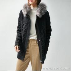 の[ZY158283VG] advanced luxury self-retaining wool cashmere fox fur leather warm jacket sweater