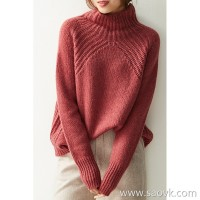の[ZY158792VG] 笑涵阁 Temperament to love warm lazy high collar cashmere silk knit sweater