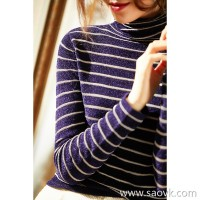 α[ZY158844VG] Xiaohan Pavilion pictures can not feel velvet warm! Bright silk striped turtleneck sweater