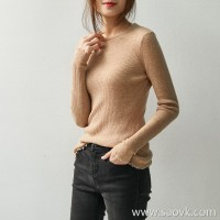 の[A555301] 笑涵阁 Cost-effective round neck hand torn edge fog wool cashmere sweater