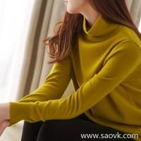 の[W565195] 笑涵阁 Gentle touch Consine full cashmere solid half-high collar sweater