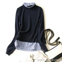 の[A573683] 笑涵阁 can not cover the level of beauty wooden ear collar collar osmanthus needle sweater shirt