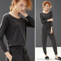 Small insect irregular round neck drawstring lace design knit wild loose fashion jumpsuit autumn and winter women