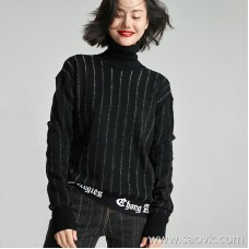 Small insect black and white striped letters loose casual high neck sweater long sleeve wool top female 2018 new