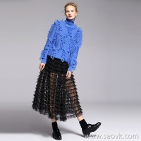 [Three pieces and 20% off] bugs Heavy work hook tassels Fashionable high neck cashmere pullover sweater