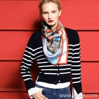 [Three pieces and 20% off] small insect merino wool casual wild head round neck blue and white striped sweater women