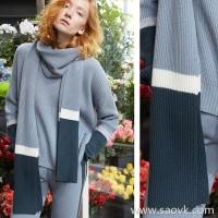 [Three pieces and 20% off] small insects fixed spinning yarn wool cashmere contrast color waterfall blue knit scarf TE7DA4037