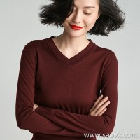Small worms Casual versatile V-neck wool knit bottoming shirt long-sleeved blouse female 2018 new winter clothing
