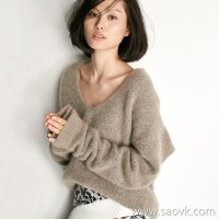 [Three pieces and 20% off] bugs Cashmere and velvet fancy yarn Crescent sleeves casual sweater top sweater women