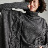 Small insects High-necked Oversize cashmere thick needle woven cloak models wild casual loose autumn and winter sweater women