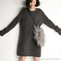 Small insect soft and comfortable loose round neck cashmere blended long knit dress female