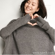 [Three pieces and 20% off] small insect Inner Mongolia fine cashmere Round neck wild knit pullover top sweater women winter clothing