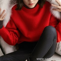Small insects concave shape! Strong shrink wool wild casual loose shoulder round neck pullover knit sweater tops women