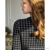 Small insect houndstooth wool knit slim round neck sweater skirt autumn and winter knit dress female a word plaid skirt