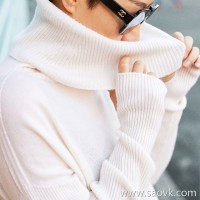 Small insect seamless knit pile heap high collar lazy wind warm loose set finger cashmere sweater shirt female autumn and winter