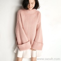 Small insects cure soft rose powder half high collar loose lazy wind pullover wool cashmere knit sweater tops women