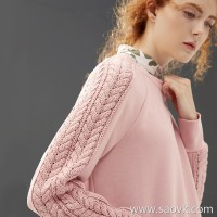 Small worm stitching knit twist loose sleeve round neck wild casual sweater shirt female 2018 new autumn and winter