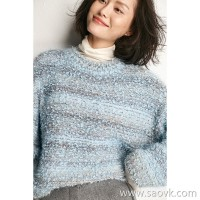 Little worm Alice Dream Blue! Italian Yarn Dreamy Glossy Shoulder Lazy Wool Female