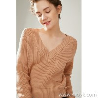 The worm is gentle and delicate! Sleeve short v-neck thick knit pocket pullover sweater top female autumn and winter