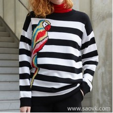 [Three pieces and 20% off] bug merino wool heavy work hanging parrot black and white striped sweater