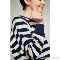 Small worm classic fresh stripes chic round neck loose wild raglan sleeves long-sleeved sweater sweater sweater women